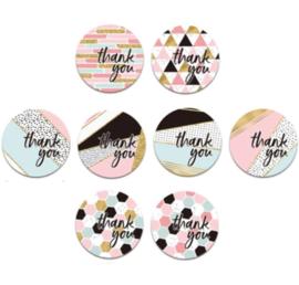 Stickers met tekst ' thank you'  - 2.5cm - 10 stuks assortie