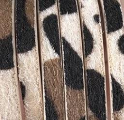Plat Imitatieleer Vachtkoord 5x2mm - Khaki-Zwart-Bruin - 20cm