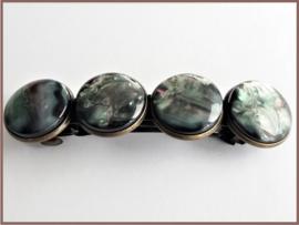 Haarknip Brons met 4 Resin Cabochons - 8.5 x 2.2cm - div kleurvariaties