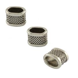 Leerschuif - Schuifkraal Metaal - Oud Zilverkleur - Bewerkt met Stippen