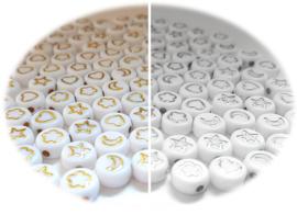Kunststof Witte Kralen - Hart Maan Ster Wolk  -  zilver of goudkleur - 7x4mm - 25 stuks
