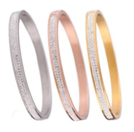 Bangle armband stainless steel met 2 rijen strass steentjes - maat L