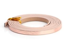 Plat Imitatie leerkoord - 5x2mm - Metallic Rose Goud - 20cm