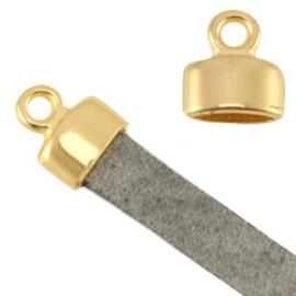 DQ metalen eindkapje met oog - Goudkleur - voor 5mm plat leer