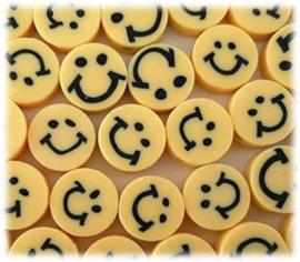 Smiley polymeer kralen - 10mm - Geel - 10 stuks