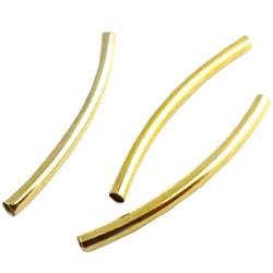Metalen Kraal Buisje - Goudkleur - 30x2mm - gat ca 1.5mm - 10 stuks