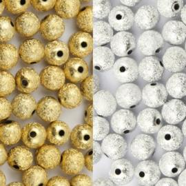 Acryl kralen Stardust Zilver of Goudkleur - 6mm - 20 stuks