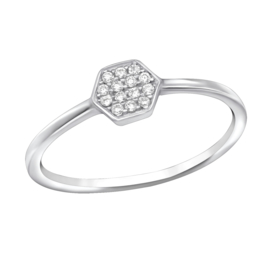 Zilveren Ring Hexagon met Zirkiona's - 925 sterling zilver