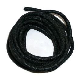 Gestikt Imitatie Leer met Slangenprint - 5mm - Zwart - 20cm