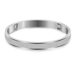 Bangle Armband Stainless Steel met 3 rijen strass steentjes - Goud of Zilverkleur