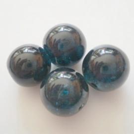 Glaskraal Crackle rond 10mm – Turquoise - 10 stuks