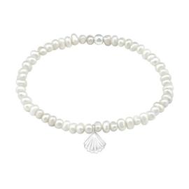 Armband van zoetwaterparels met een zilveren schelp hanger