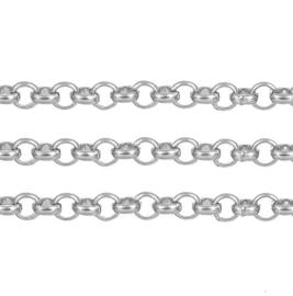 DQ Jasseron Ketting, RVS met 2.5mm schakels - 50cm