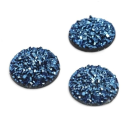 Druzy Resin Cabochon Rond Donkerblauw 20mm
