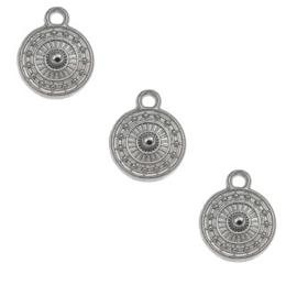 Bedel Hanger Platrond Bewerkt – Zilverkleurig Metaal – 11x9mm - 5 stuks