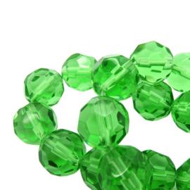 Facet Geslepen Glaskralen - Rond - Groen - Streng