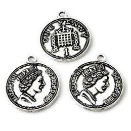 Hanger Bedel Engelse munt 1 penny met gezicht Elizabeth II ± 23x20mm