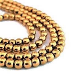 Goudkleur Hematiet Kralen - 4mm Rond - 10 stuks