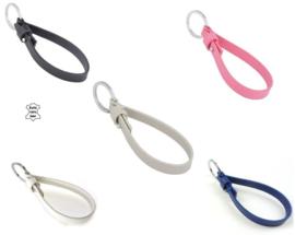 Leren sleutelhanger voor schuifkralen 23 x 1 x 0.2cm - wit, beige, zwart, roze,  donkerblauw