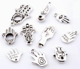 Hanger Bedel – Hand -  mix 10 verschillende  – Antiek Zilverkleur – Metaal