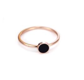 316L Stainless Steel Ring Rose Gold met 6mm Platte Knop