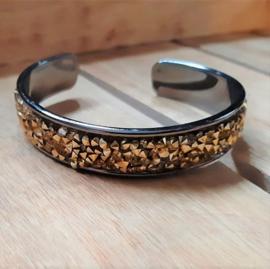 Armband Cuff Diamond Glitter - Zwart Zilverkleurig Metaal met Goudkleur Strass