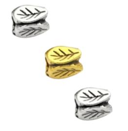 Metalen Kraal Blaadje Antiek Zilver of Antiek goud - 5 stuks