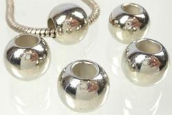 Kunststof kralen - metal look - rond - 12x10mm met groot gat 5mm - 5 stuks