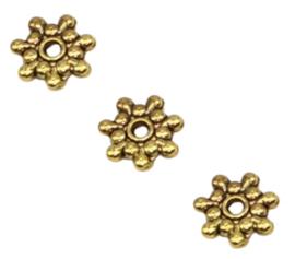 Spacer kralen metaal goudkleur - 8x1.5mm - gat 1mm - 10 stuks