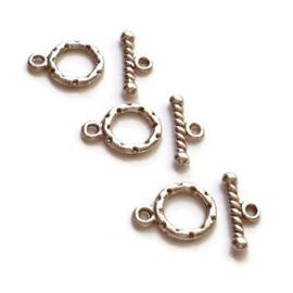 Kapittel slotje klein oud zilverkleur 10mm - 3 stuks