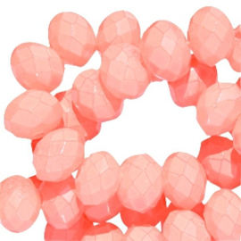 Facet Glaskralen 8x6mm Bright Rose - 10 stuks