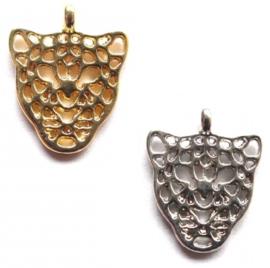 Bedel Hanger Luipaardhoofd – Goud of Zilverkleur - Metaal 12 x 10 mm