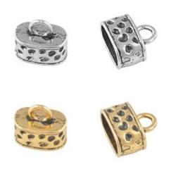 Eind kapjes - metaal met oog - oud zilver- of oud goudkleur - ca 15x13mm - 2 stuks