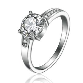 RVS Ring met schitterende Zirkiona steentjes  316L stainless steel