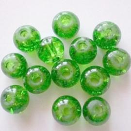 Glaskraal Crackle rond 6mm – Groen - 15 stuks