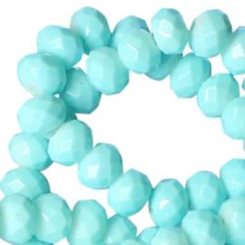 Facet Glaskralen 8x6mm  Aqua Blauw- 10 stuks