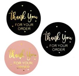 Sluitstickers met tekst  ' thank you for your order'  - 2.5cm - 10 stuks in kleur naar keuze