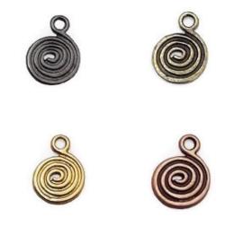 Bedel Hanger 3D Spiraal (Swirl) antraciet, antiek brons, antiek koper of antiek goud - 5 stuks