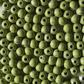 Houten Kralen 8mm Groen/Zilver - 25 stuks