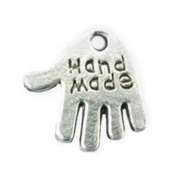 Bedel Hanger Handje - Tekst: Handmade - Zilverkleur – metaal – 13x12mm - 10 stuks