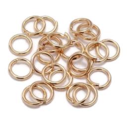 Metaal montage ringetjes rond - Licht Rosé Goud - ca 100 stuks