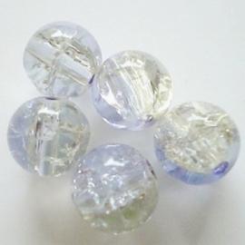 Glaskraal Crackle rond 10mm – Duo Kristal Paars - 10 stuks