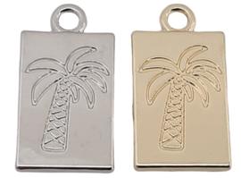 Bedel / Tag - Palmboom - Antiek Zilver of Goudkleur