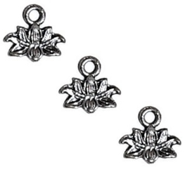Bedel Hanger Waterlelie - Lotusbloem - metaal - oud zilverkleur - 10x10mm - 10 stuks