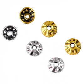 Kralenkapjes 8mm Oud Zilver of Oud Goudkleur Metaal - 10 stuks