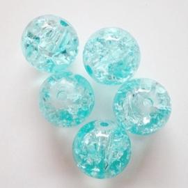 Glaskraal Crackle rond 10mm – Aquablauw - 10 stuks
