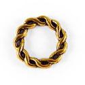 Metalen Tussenzetsel Ring, Rond 2 zijdig bewerkt - 15mm Antiek Goud - 5 stuks