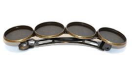 Haarknip voor 20mm cabochons met 4 settings - Brons