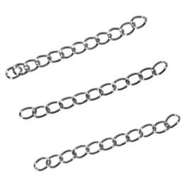 Verlengketting 5cm x 3mm Zilverkleur metaal - 10 stuks