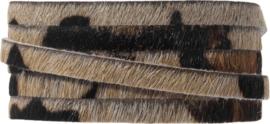 DQ Plat Leer Safari 5 x 2 mm Luipaard Bruin Print  - 5 x 2 mm  - 10cm